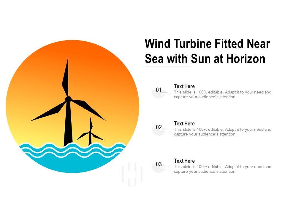 Wind Turbine Fitted Near Sea With Sun At Horizon