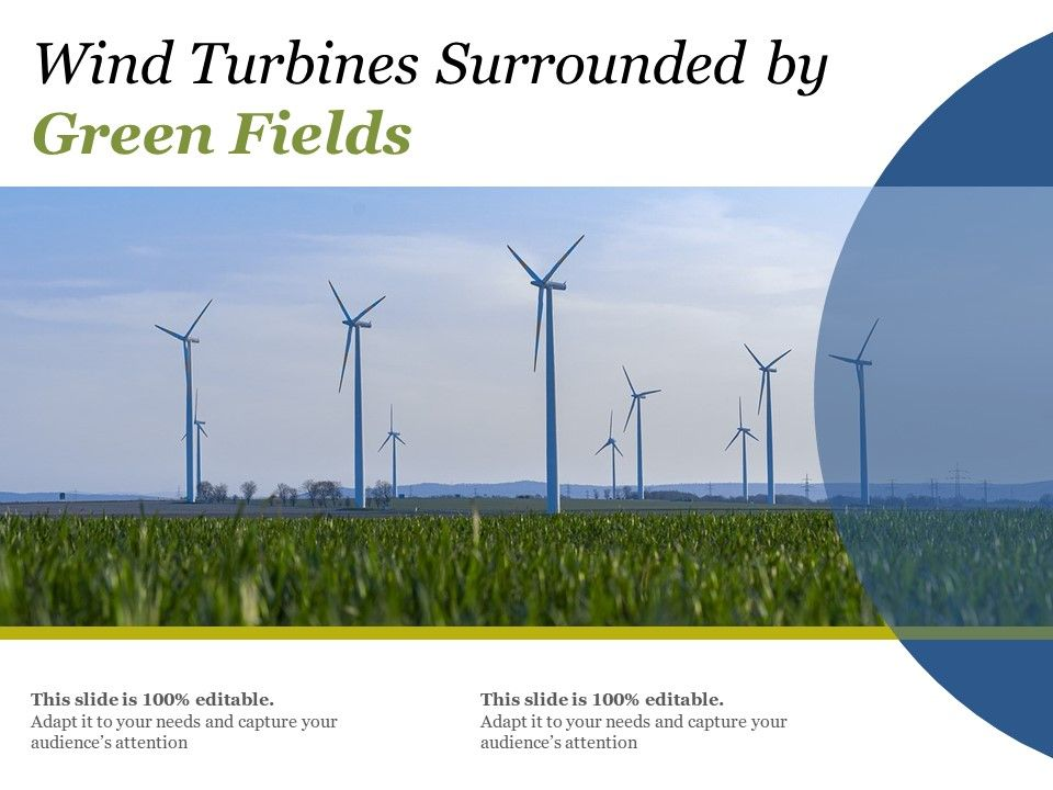 Wind Turbines Surrounded By Green Fields