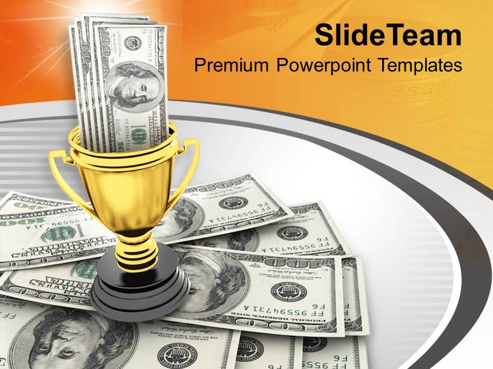 Winner Trophy And Award Money Powerpoint Templates Ppt