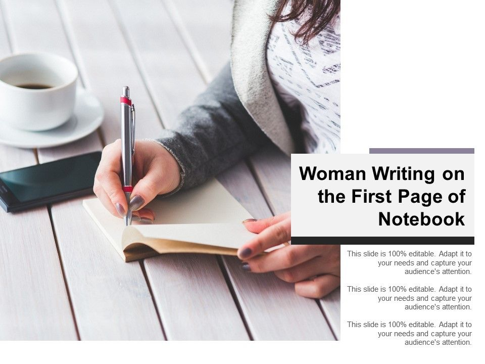 Woman Writing On The First Page Of Notebook Powerpoint
