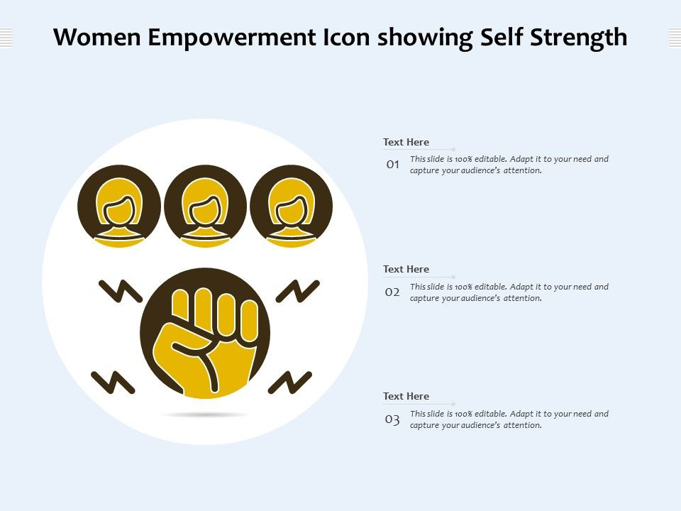 Women Empowerment Icon Showing Self Strength