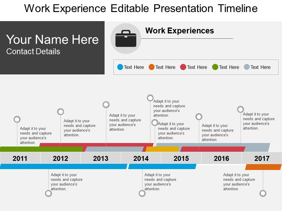 work experience editable presentation timeline template