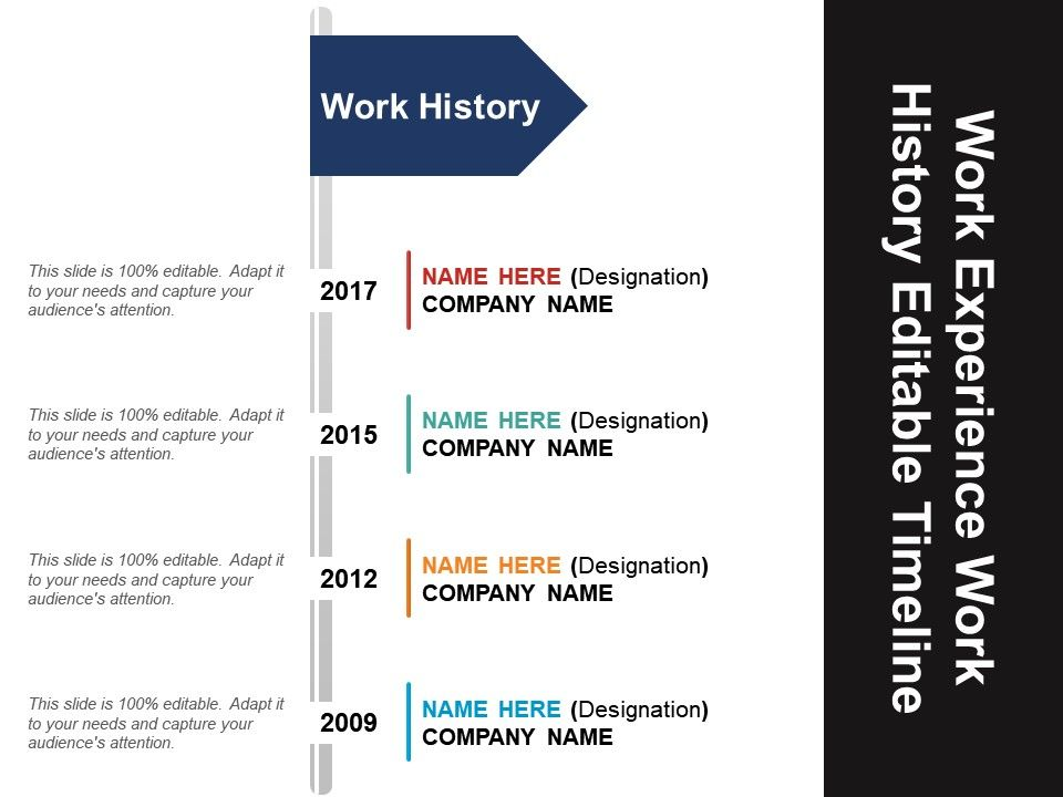 work experience work history editable timeline powerpoint layout