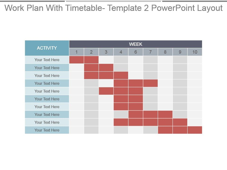 Work Plan With Timetable Template 2 Powerpoint Layout