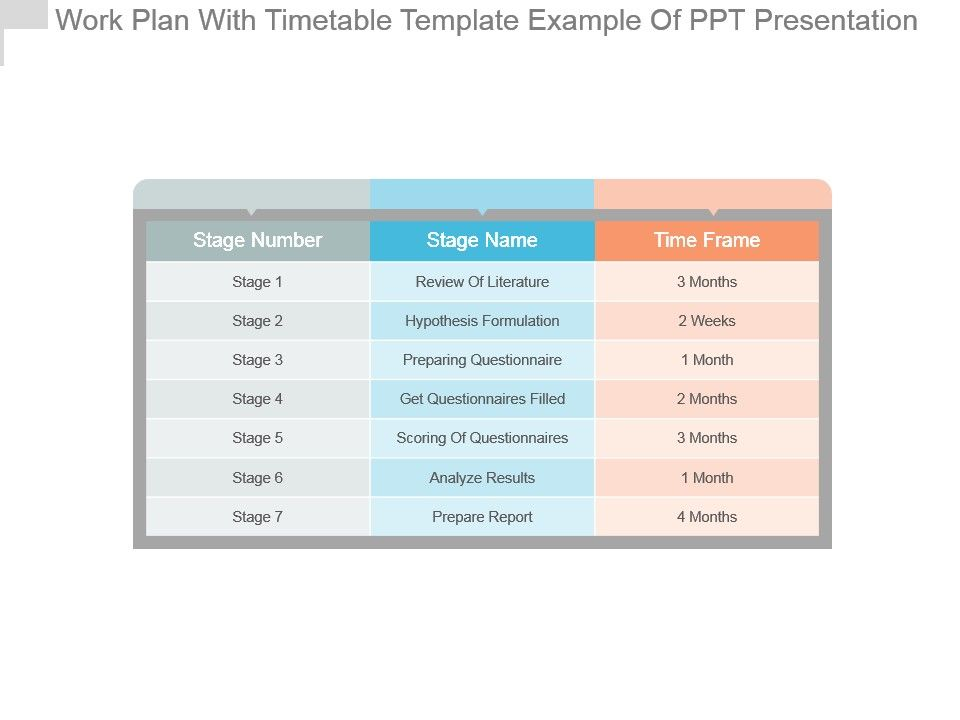 Work Plan With Timetable Template Example Of Ppt Presentation ...