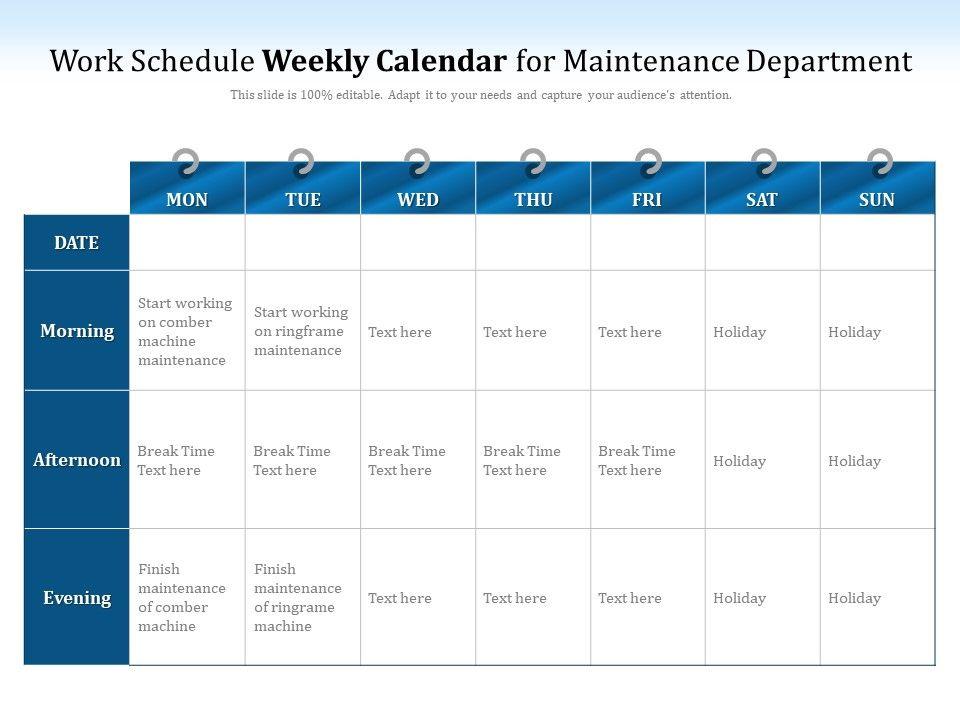 Work Schedule Weekly Calendar For Maintenance Department