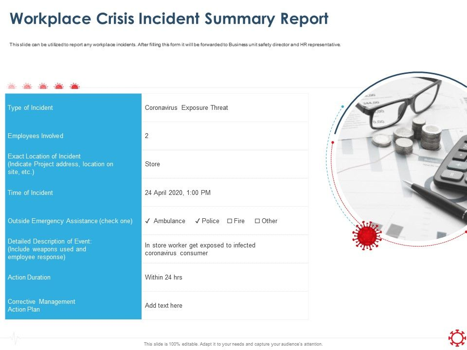 Workplace Crisis Incident Summary Report Assistance Ppt Presentation Files