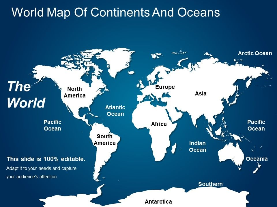 World Map Of Continents And Oceans | PowerPoint Shapes ...