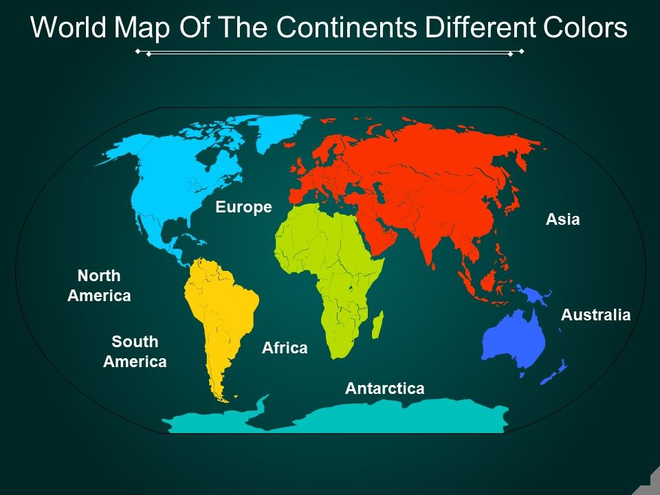 World Map Of The Continents Different Colors Powerpoint