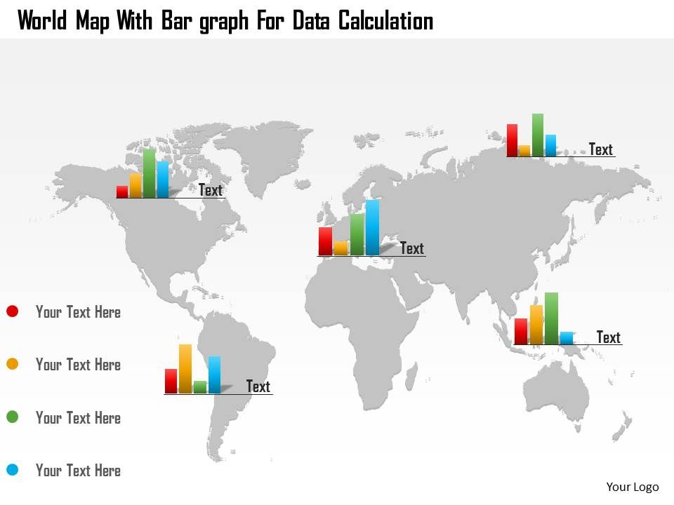 world map with bar graphs for data calculation ppt