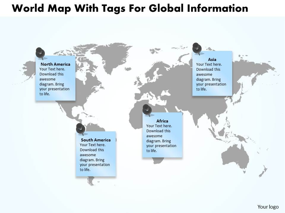 world map with tags for global information ppt presentation slides
