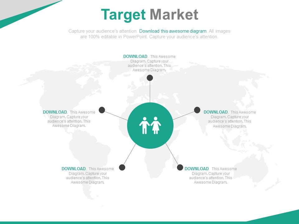 World Map With Target Market Analysis Powerpoint Slides  Powerpoint