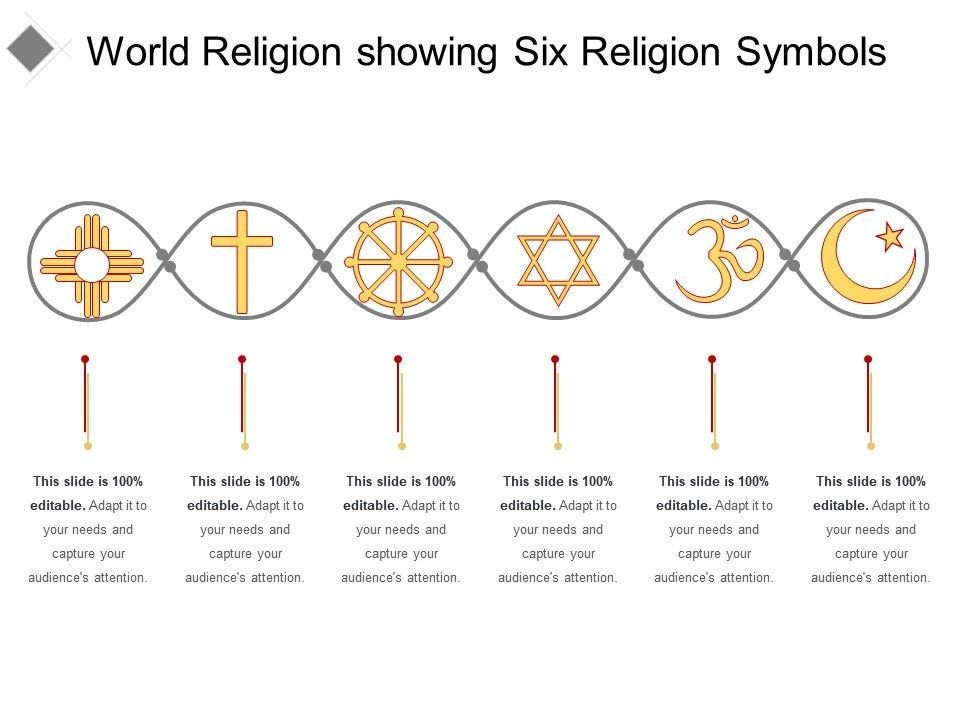 World Religion Showing Six Religion Symbols Powerpoint