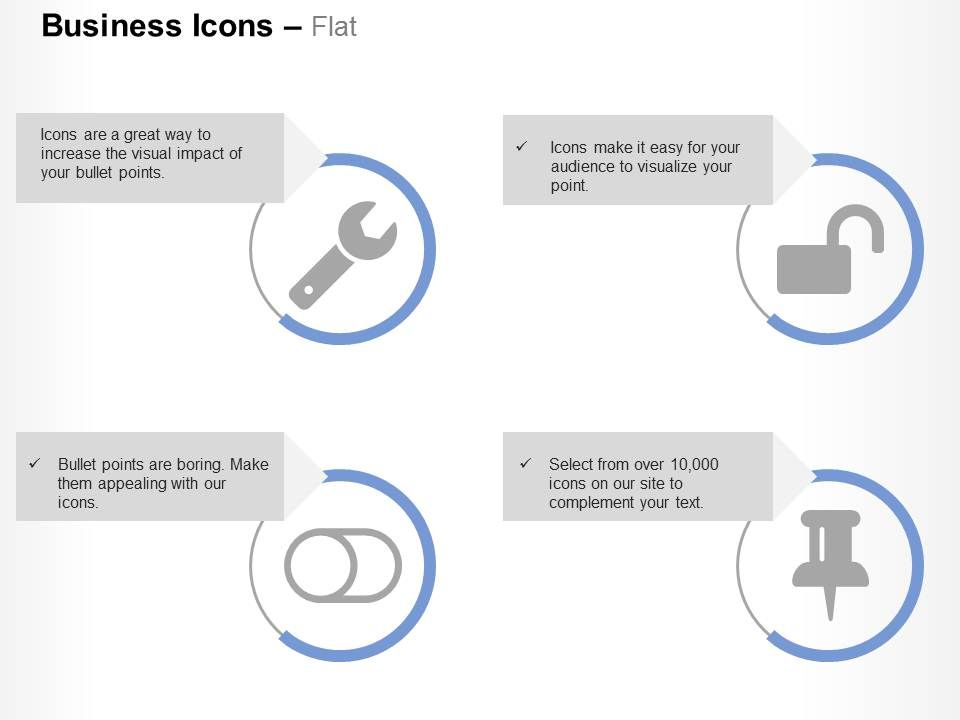 Wrench Unlock Toggle Off Thumb Tack Ppt Icons Graphics | PowerPoint ...
