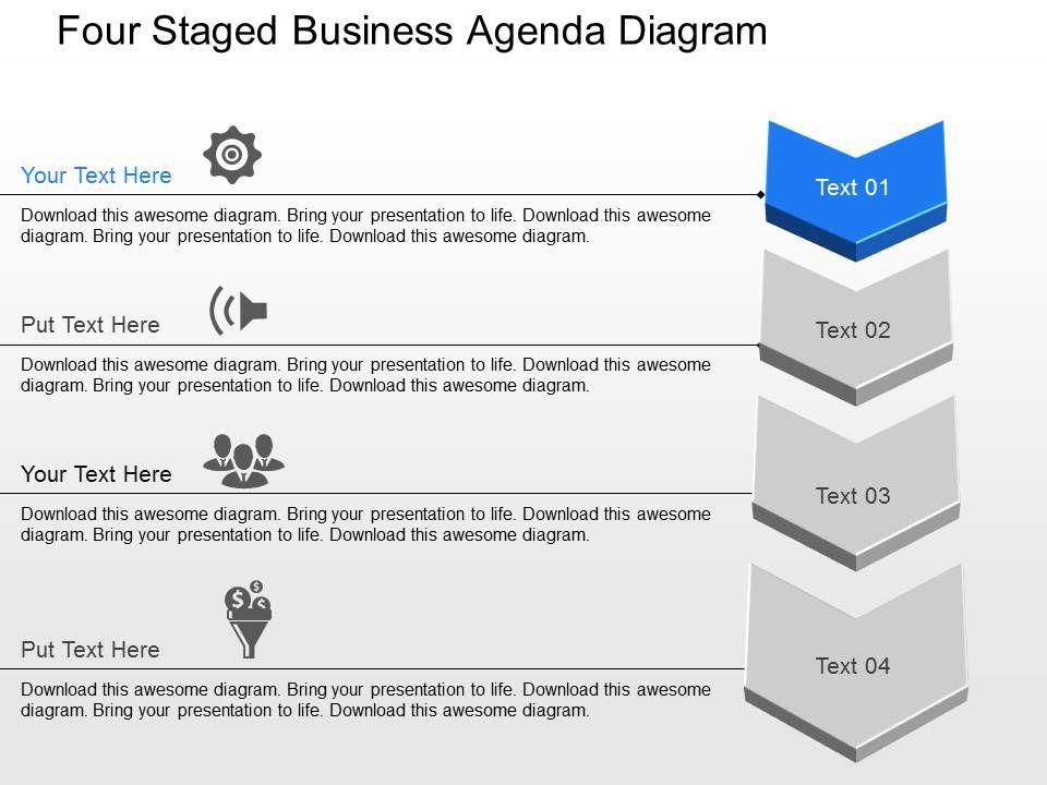 xt_four_staged_business_agenda_diagram_powerpoint_template_Slide01 37803762 style essentials 1 agenda 4 piece powerpoint presentation
