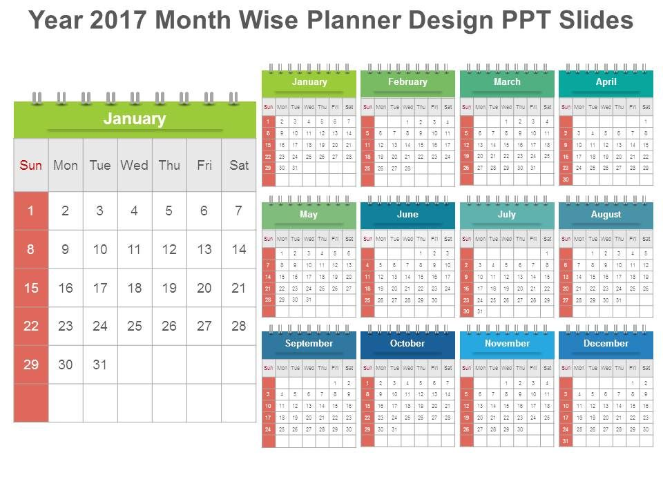 year 2017 month wise planner design ppt slides powerpoint slide templates download ppt background template presentation slides images