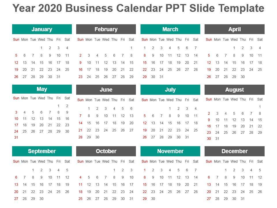Powerpoint Calendar Template 2020 Year 2020 Business Calendar Ppt Slide Template | Presentation