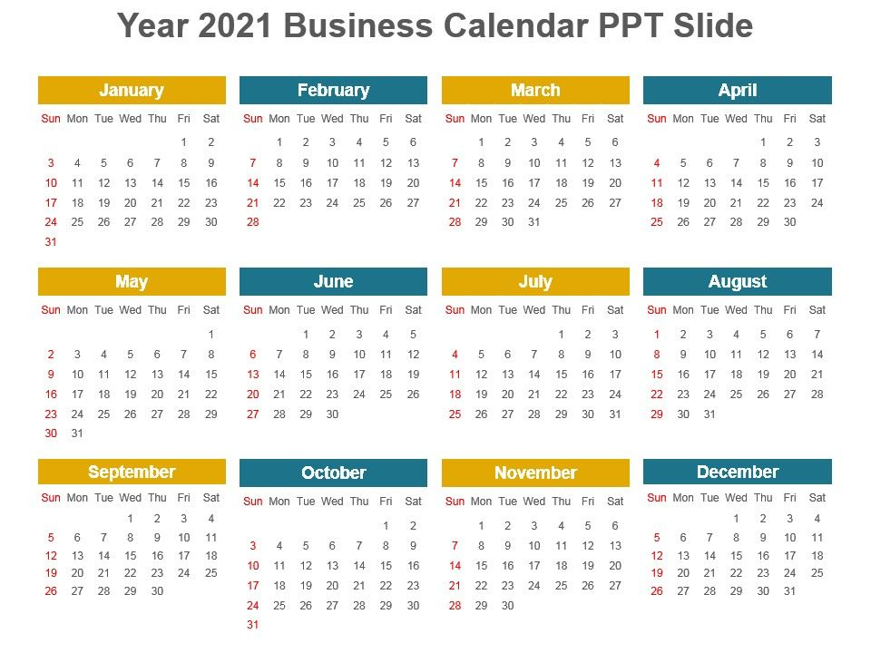 Year 2021 Business Calendar Ppt Slide | PPT Images Gallery