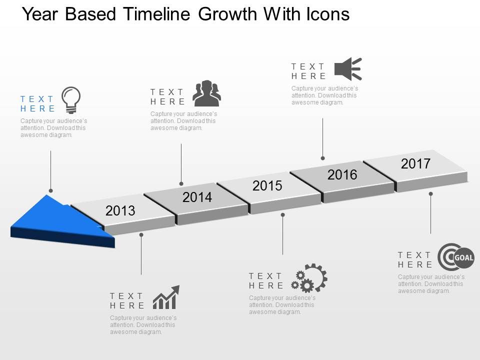 year based timeline growth with icons powerpoint template