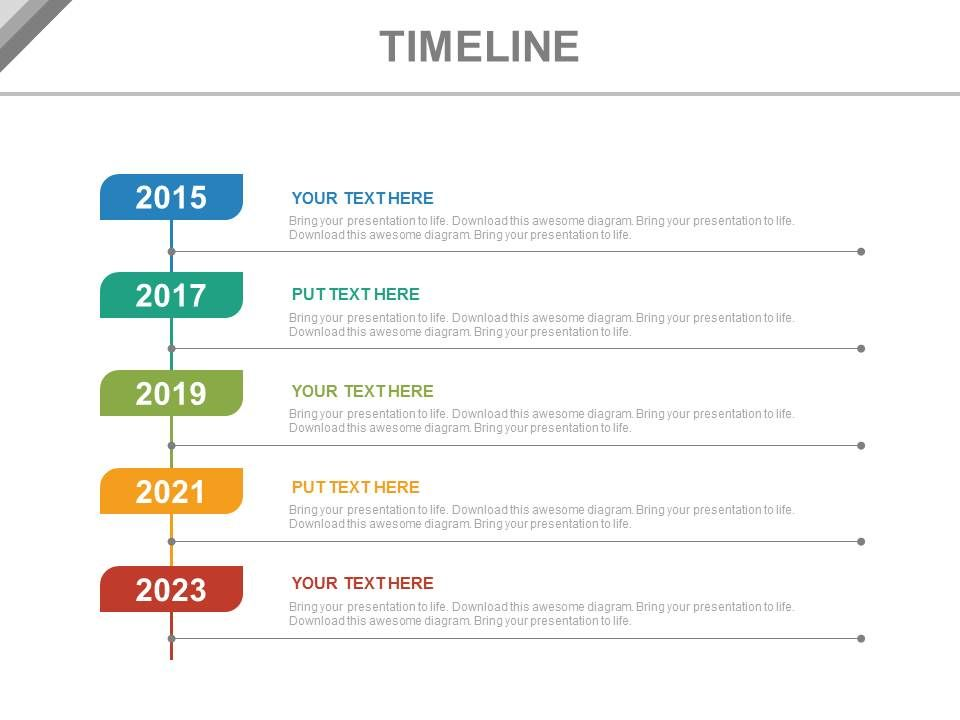 year based vertical timeline for business powerpoint