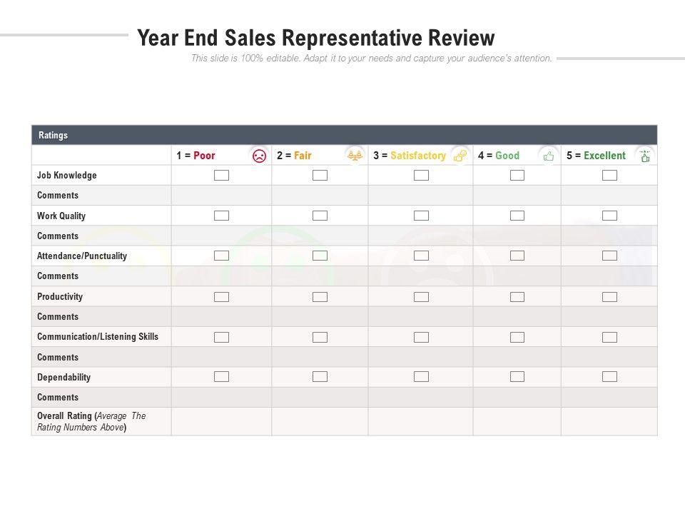 Year End Sales Representative Review