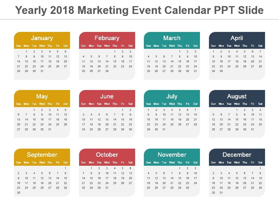 annual calendar of events template - yearly 2018 marketing event calendar ppt slide