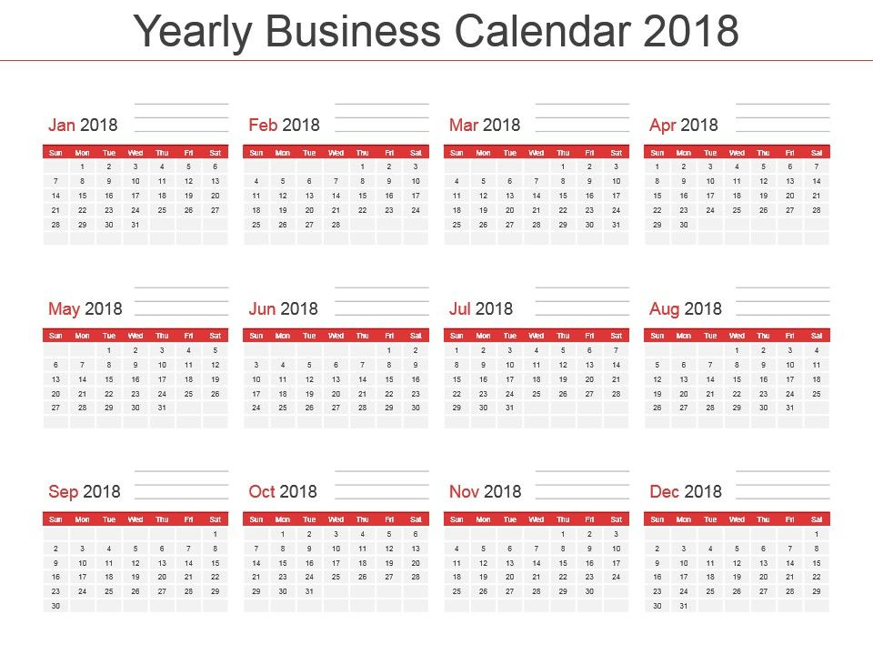 Yearly Business Calendar 2018 Powerpoint Template Powerpoint