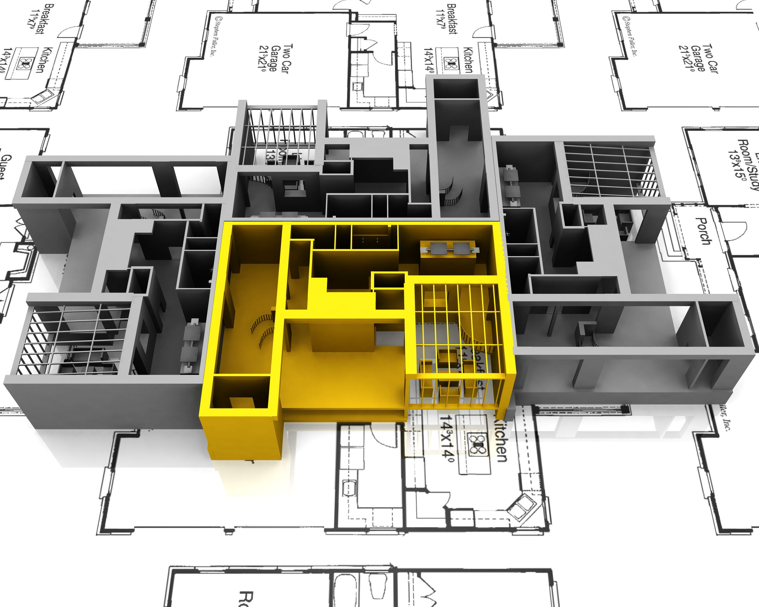 Yellow Apartment Mockup On Plans For Architecture Stock Photo Point Slide Template Presentation Templates Ppt Layout Deck
