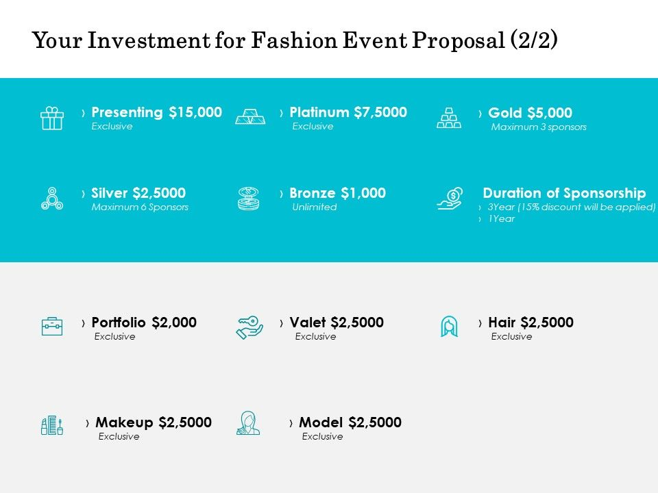 Your Investment For Fashion Event Proposal Portfolio Ppt Powerpoint