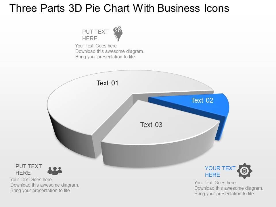 Zo Three Parts 3D Pie Chart With Business Icons Powerpoint