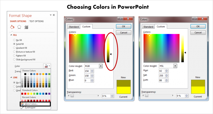 How to choose Colors in PowerPoint