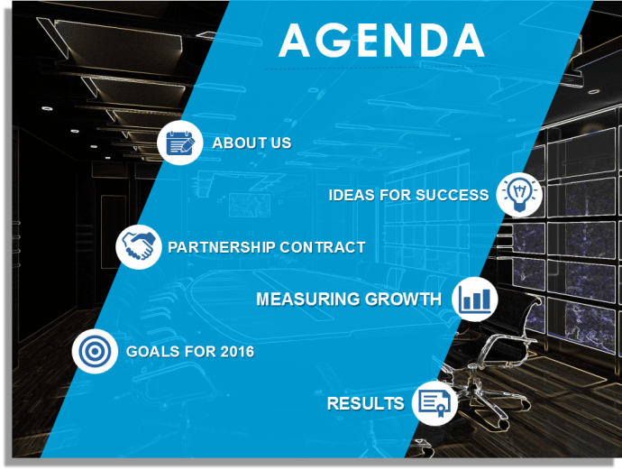 Beautiful Agenda Slide Layout with Image and Icons