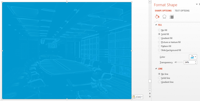 Format Shape and giving transparency in PowerPoint
