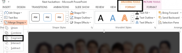 Step 2.1- Merge Shapes using Format tab in PowerPoint
