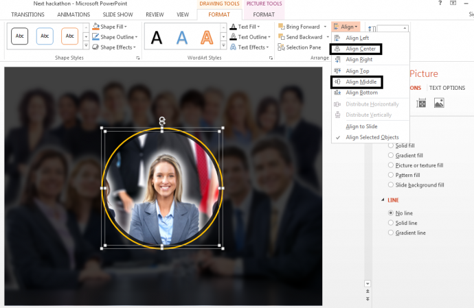 Step 5.1- Use the Align command in PowerPoint