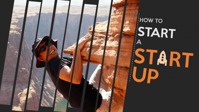 Split Image Effect on Hiking Picture for How to Start a Startup PPT Slide