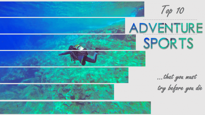 Top 10 adventure sports slide looks eye catchy with split image effect