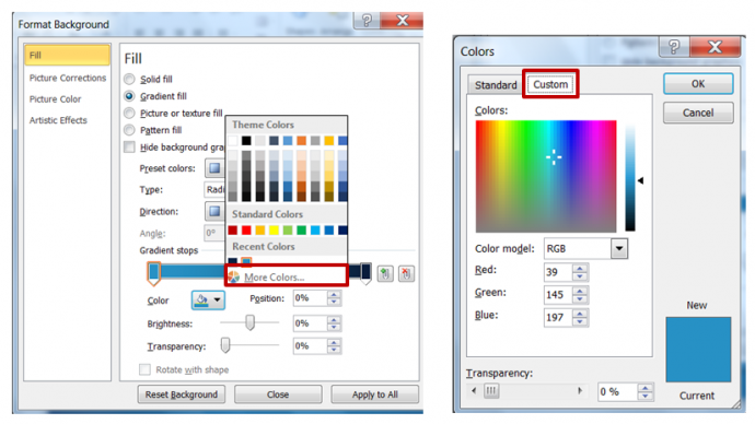 How to customize colors in PowerPoint 2010