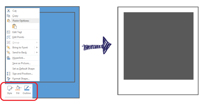 Format the rectangles using Format Shape