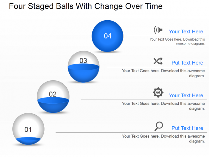 Four staged balls with change over time PowerPoint template slide