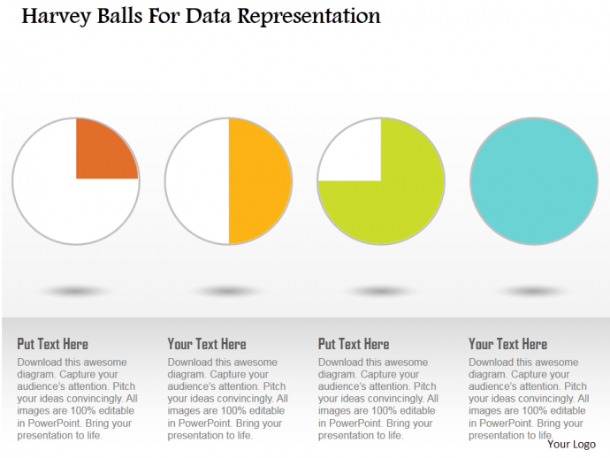 Harvey balls for data representation flat PowerPoint design