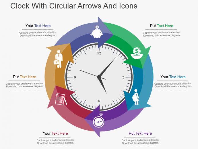 Professional Circular Arrow Template for Time Management