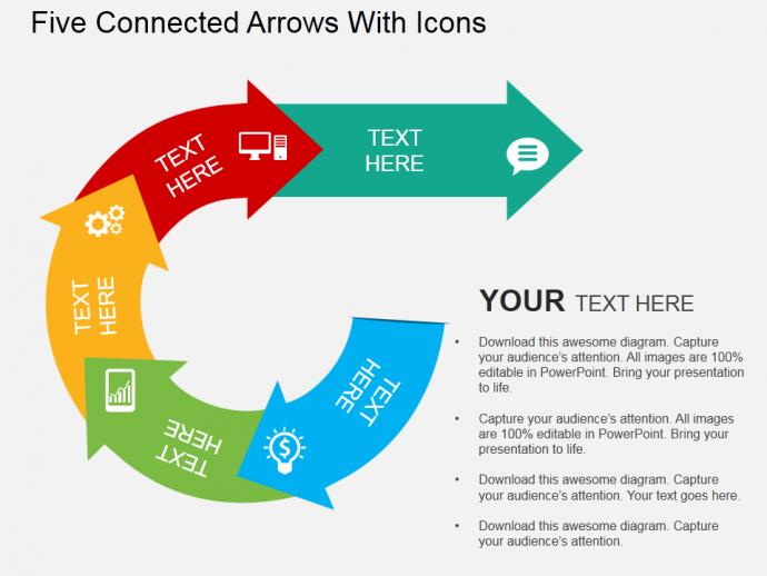 Editable Circular Arrows PowerPoint Template 3