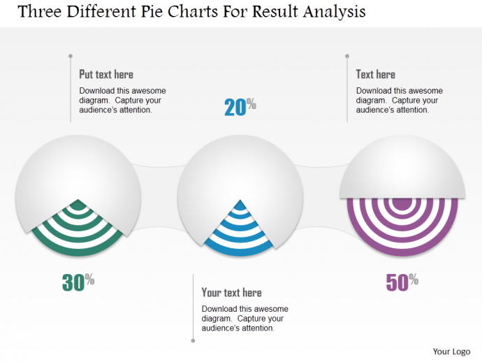 Three different pie charts for result analysis PPT  template