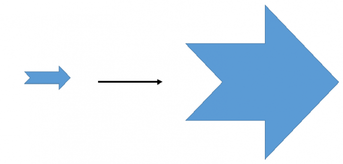 Increase the size of the notched right arrow