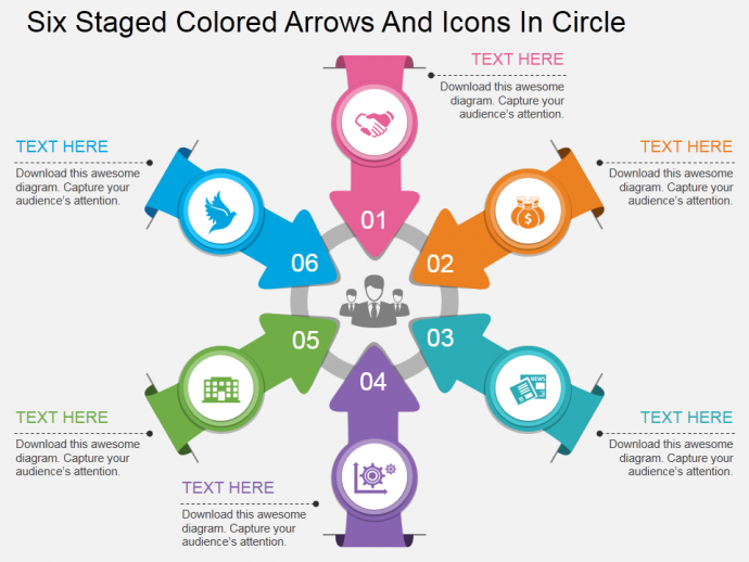 Bp six staged colored arrows and icons in circle flat powerpoint design