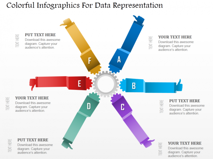 Colorful infographics for data representation powerpoint template