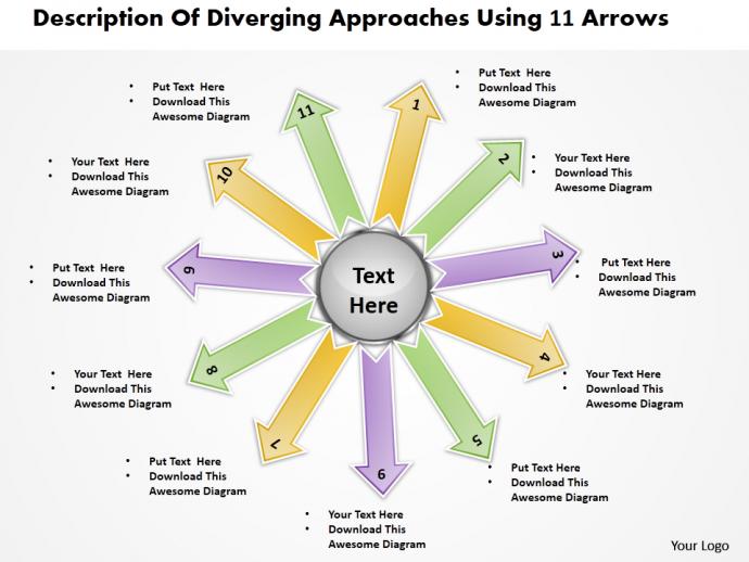Description of diverging approaches using 11 arrows Circular Spoke Chart PowerPoint templates