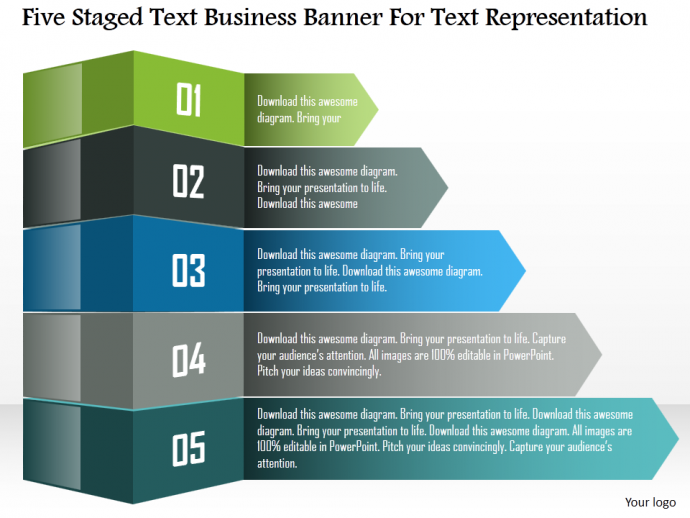 Five staged text business banner for text representation powerpoint template
