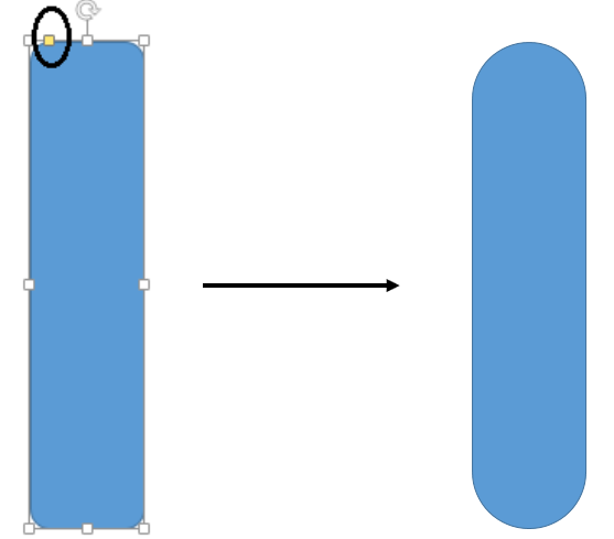 Move the yellow handle to adjust the shape of the rounded rectangle